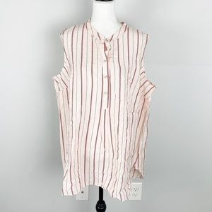 Vince Camuto Stripe Button-Up Tunic Top NWOT